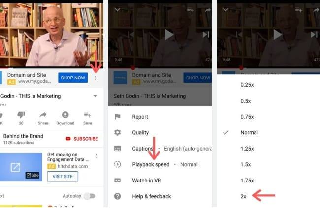 photo guide shows how to change youtube playback speed on mobile youtube