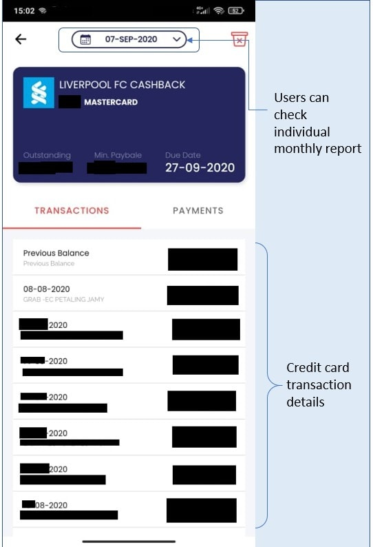 credit card transaction records