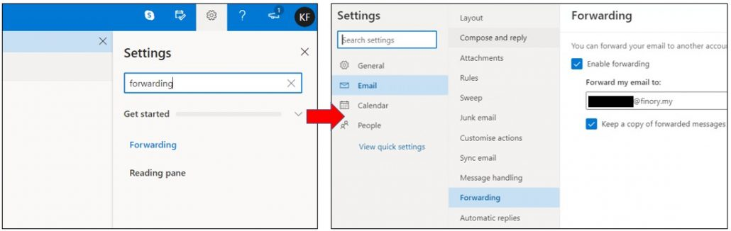 forward email from outlook to finory email