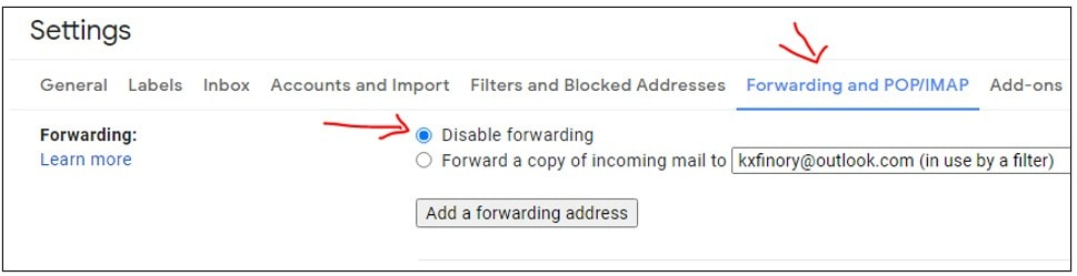 setting up forwarding in gmail