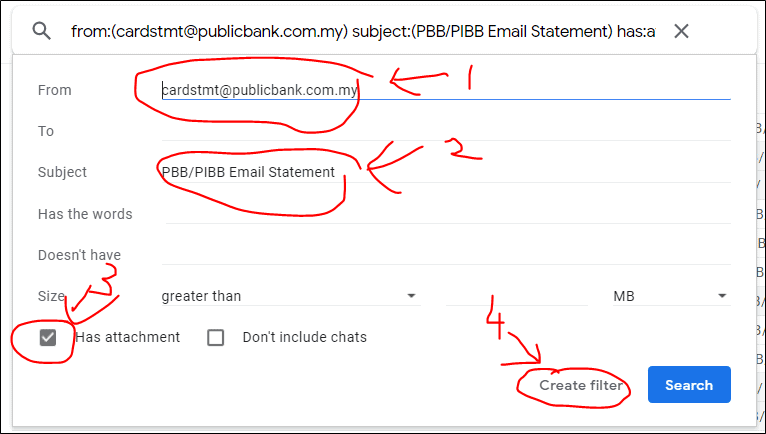 setting up credit card statement filter in gmail for finory -step 1